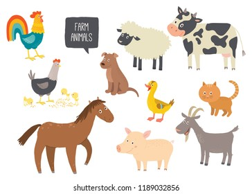 Set of cute farm animals. Horse, cow, sheep, pig, duck, hen, goat, dog, cat, cock Cartoon vector hand drawn eps 10 childrens illustration isolated on white background
