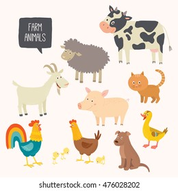 Set of cute farm animals. Vector hand drawn eps 10 clip art illustration isolated on white background.