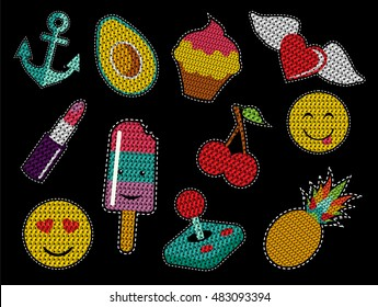 Set of cute fashion patch icons with sequin texture in pop art cartoon style. EPS10 vector.