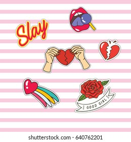 Set of cute fashion patches with rose, heart and other object