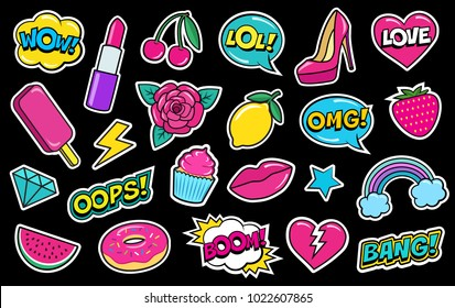 Set of cute fashion patches, strawberry, lipstick, ice-cream, donut, shoe, rose, diamond, lips, watermelon, cherry, cupcake, speech bubbles etc. Cartoon stickers, 80s-90s style. Vector illustration