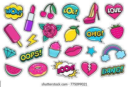 Set of cute fashion patches, strawberry, lipstick, ice-cream, donut, shoe, rose, diamond, lips, watermelon, cherry, cupcake, speech bubbles etc. Cartoon stickers, 80s-90s style. Vector illustration