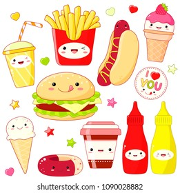 Set of cute fast food icon in kawaii style with smiling face and pink cheeks. Sticker with inscription I love you. Hamburger, donut, cups soda and coffee, hot dog, ice cream, ketchup, mustard. EPS8