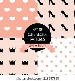 set of cute female patterns, vector illustration