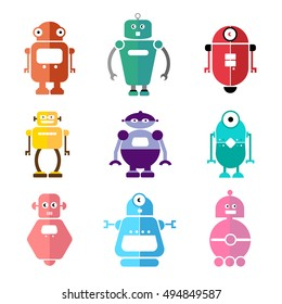Set of cute flat robots