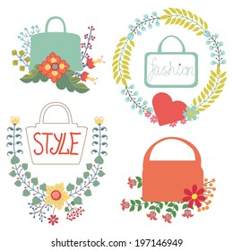 Set of cute floral fashion composition in retro style.Vintage Vector floral wreath  with high heel shoes .Design template for label.Vector illustration