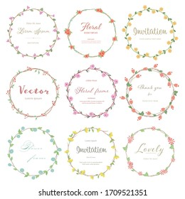 Set of cute flower circle frame. Floral and green leaves flat style. Flowers for decoration concept. Floral vector source for invitation, wedding, greeting card design.