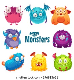 Set of cute fluffy monsters