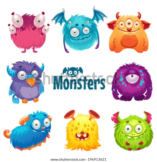 Set Cute Fluffy Monsters Stock Vector Royalty Free 196913621