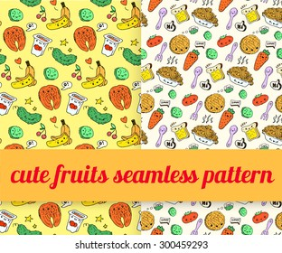 set of cute food doodles. seamless pattern. sketches of pizza, noodles, waffles, ice cream, carrots, salmon, cake, fruit, cutlery, packaging juice, fried egg. characters with speaking bubbles