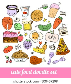 set of cute food doodles. sketches of pizza, noodles, waffles, ice cream, carrots, salmon, cake, fruit, cutlery, packaging juice, fried egg. characters with speaking bubbles