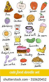 set of cute food doodles. sketches of pizza, noodles, waffles, ice cream, carrots, salmon, cake, fruit, cutlery, packaging juice, fried egg. colorful menu