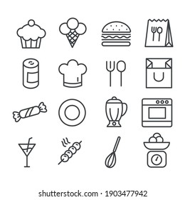 Set of cute food icon. Restaurant or cooking concept. Modern outline on white background