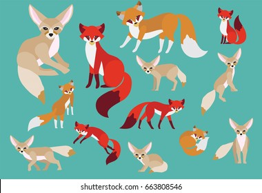 Set of cute foxes in modern flat style. Animal character design isolate background.