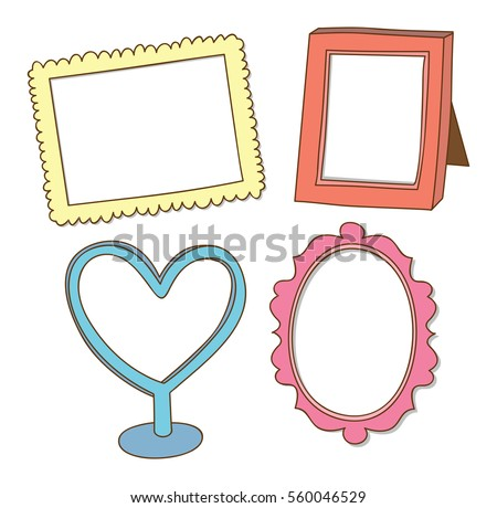 Set Cute Frame Doodle Isolated On Stock Vector (Royalty Free ...
