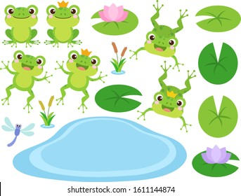 Set of Cute Frog and Frog Prince cartoon characters. Vector illustration. Amphibian drawing. Happy frog sit and jump clip art, different pose, with pond, plants, dragonfly. Colorful graphic elements.