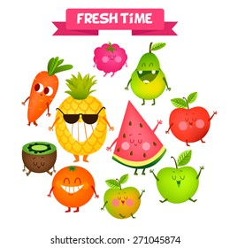 A set of cute fruit. Illustration with funny characters. Love and hearts.  Funny food.  time fresh. Orange, apple, watermelon, kiwi, carrot, pear, pineapple.