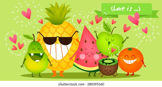 A set of cute fruit. Illustration with funny characters. Love and hearts. Time to fresh. Orange, apple, watermelon, kiwi, pineapple.