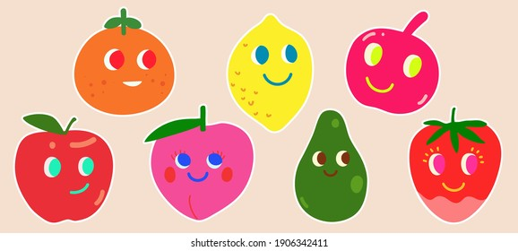 A set of cute fruits pins stickers design collection, kawaii, fun and adorable, simple colorful, flat hand drawn childish doodle style