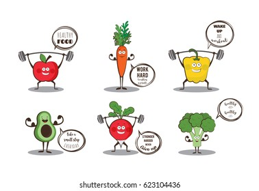 Set of cute fruits and vegetables doing sport with motivation quotes.vector illustration