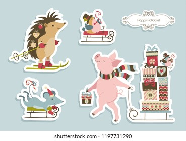 Set of cute fun Christmas animals, the mouse and a bird on the sledges, hedgehog on the ski, the pig carring presents on the sledge and a cute contour frame. Vector background.