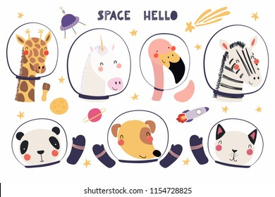 Set of cute funny animal astronauts in space helmets, with stars. Isolated objects on white background. Hand drawn vector illustration. Scandinavian style flat design. Concept for children print.