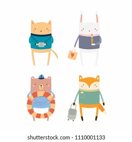 Set of cute funny animals on summer holidays. Isolated objects. Hand drawn vector illustration. Scandinavian style flat design. Concept for children print.