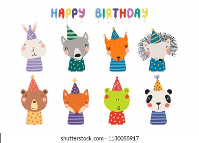 7b6bd79ced6 Set of cute funny animals in party hats bear