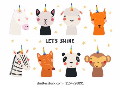 Set of cute funny animals with unicorn horns, quote Lets shine . Isolated objects on white background. Hand drawn vector illustration. Scandinavian style flat design. Concept for children print.