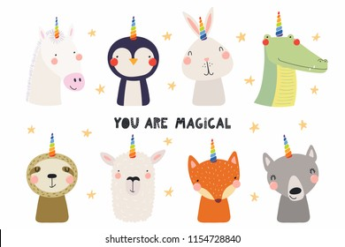 Set of cute funny animals with unicorn horns, quote You are magical. Isolated objects on white background. Hand drawn vector illustration. Scandinavian style flat design. Concept for children print.