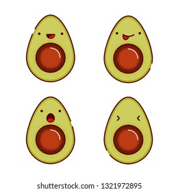 Set of cute and funny avocados with different emotions on the face (happy, laughter, sadness, surprise, playfulness) Vector illustration isolated on white background