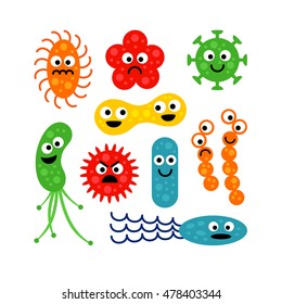 Set of cute funny bacterias (germs) in flat cartoon style isolated on white background. Good and bad microbes. Art vector illustration.