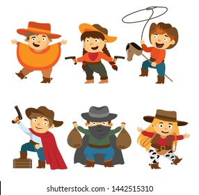 A set of cute funny cartoon children in suits of cobers and wild west robbers. Heroes Westen or Rodeo.