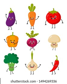 set of cute funny cartoon vegetable characters kawaii style icons isolated on white background. illustration vector.