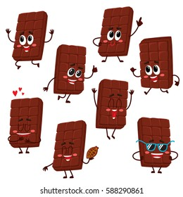 Set of cute and funny chocolate bar characters showing various emotions, cartoon vector illustration isolated on white background. Set of funny chocolate characters, mascots, emoticons