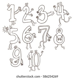 Set of cute and funny colorful number characters, cartoon vector illustration isolated on white background.