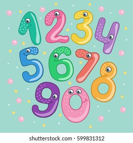 Set of cute and funny colorful smiling number characters from 0 to 9. Cartoon vector illustration on blue background for children.