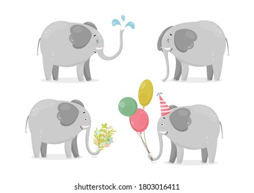 Set with cute and funny elephants, water drops, balloons, flowers. Vector illustration of frican animal character