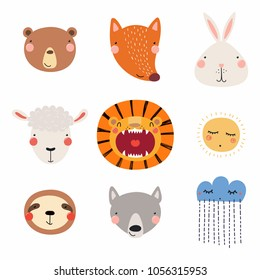 Set of cute funny hand drawn different animal faces, sun, cloud with rain. Isolated objects. Vector illustration. Scandinavian style flat design. Concept for children print.