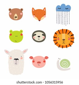 Set of cute funny hand drawn different animal faces, snail, cloud with rain. Isolated objects. Vector illustration. Scandinavian style flat design. Concept for children print.