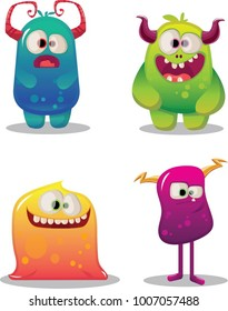set of cute funny happy cartoon monsters