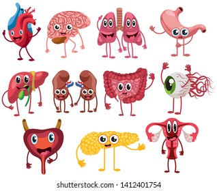 Set of cute and funny healthy human organ characters. Collection of cartoon human organs. Vector illustration for kids.