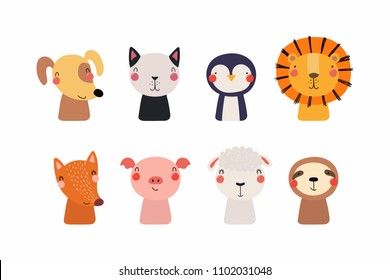 Set of cute funny little animals cat, lion, sheep, penguin, dog, sloth, fox, pig. Isolated objects on white background. Vector illustration. Scandinavian style flat design. Concept for children print.