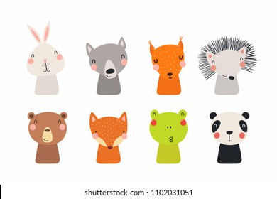 Set of cute funny little animals bear, panda, bunny, wolf, frog, fox, hedgehog, squirrel. Isolated objects on white. Vector illustration. Scandinavian style flat design. Concept for children print