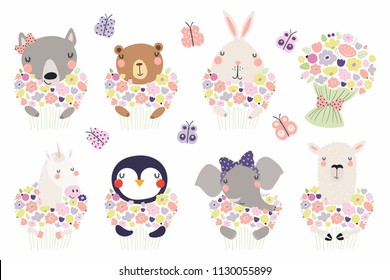 Set of cute funny little animals with flowers bear, unicorn, llama, penguin, bunny, wolf, elephant. Isolated objects on white. Vector illustration. Scandinavian style design. Concept children print