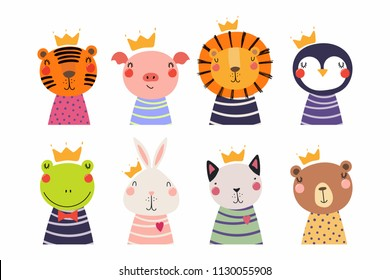 Set of cute funny little animals in crowns cat, bear, lion, tiger, penguin, bunny, frog, pig. Isolated objects on white. Vector illustration. Scandinavian style flat design. Concept for children print