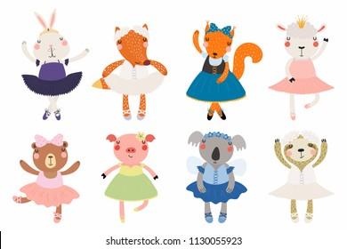 Set of cute funny little animals ballerinas bear, sheep, bunny, fox, pig, squirrel, sloth, koala. Isolated objects on white. Vector illustration. Scandinavian style flat design. Concept children print