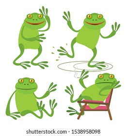 Set of cute funny little cartoon frog walks, dances, sits and smokes