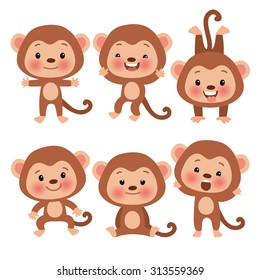 Set of cute funny monkeys in a cartoon style. Funny monkey in different poses. Monkey symbol of the year.