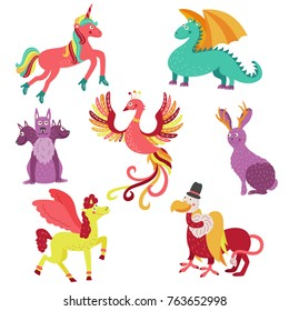 Set of cute and funny mythical creatures - unicorn, jackalope, phoenix, pegasus, Cerberus, griffon and dragon, cartoon vector illustration isolated on white background. Set of mythical animals